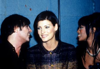 Francois Nars, Linda Evangelista, and Naomi Campbell at party to honor makeup artist Francois Nars, New York, March 4, 1995. (Photo by Steve Eichner/Getty Images)