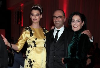 ROME, ITALY - NOVEMBER 30:  (L-R) Linda Evangelista, Massimo Leonardelli and Debbie Mace attend The Children For Peace Benefit Gala Ceremony at Spazio Novecento on November 30, 2013 in Rome, Italy.  (Photo by Elisabetta Villa/Getty Images)