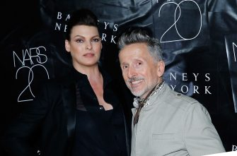 NEW YORK, NY - SEPTEMBER 04:  Linda Evangelista  and Simon Doonan attend the NARS' 20th Anniversary Celebration at Barneys New York on September 4, 2014 in New York City.  (Photo by John Lamparski/WireImage)
