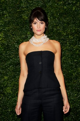 LONDON, ENGLAND - FEBRUARY 01:    Gemma Arterton arrives at the Charles Finch & CHANEL Pre-BAFTA Party at 5 Hertford Street on February 1, 2020 in London, England.  (Photo by David M. Benett/Dave Benett/Getty Images)
