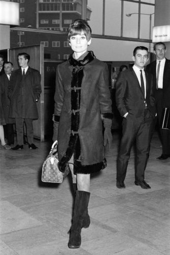 Film star Audrey Hepburn pictured at Heathrow Airport before leaving for her home in Switzerland, 5th November 1966. (Photo by Staff/Mirrorpix/Getty Images)