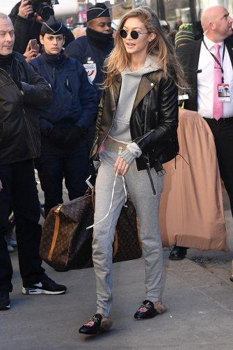 PARIS, FRANCE - NOVEMBER 30:  Victoria's Secret Angel Gigi Hadid is seen arriving at le Grand Palais ahead of the 2017 Fashion Show on November 30, 2016 in Paris, France.  (Photo by Jacopo Raule/GC Images)