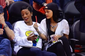 LOS ANGELES, CA - MAY 09:  Melissa Forde and Rihanna attends an NBA playoff game between the Oklahoma City Thunder and the Los Angeles Clippers at Staples Center on May 9, 2014 in Los Angeles, California.  (Photo by Noel Vasquez/GC Images)