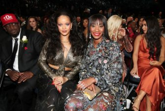 NEW YORK, NY - JANUARY 28: Recording artist Rihanna (L) and Melissa Forde attend the 60th Annual GRAMMY Awards at Madison Square Garden on January 28, 2018 in New York City.  (Photo by Christopher Polk/Getty Images for NARAS)