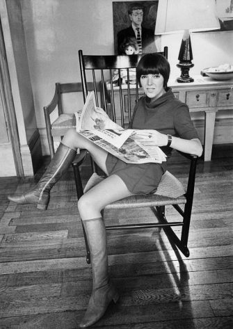 (Original Caption) London fashion designer Mary Quant has been at the top of the tree long enough to make others look like upstarts. And when it comes to miniskirts, she practices what she preaches.