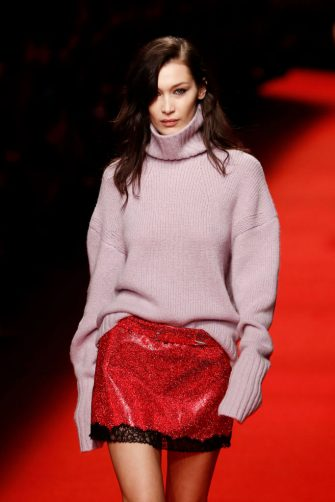 MILAN, ITALY - FEBRUARY 23: Bella Hadid walks the runway at the Philosophy Di Lorenzo Serafini show at Milan Fashion Week Autumn/Winter 2019/20 on February 23, 2019 in Milan, Italy. (Photo by John Phillips/Getty Images)