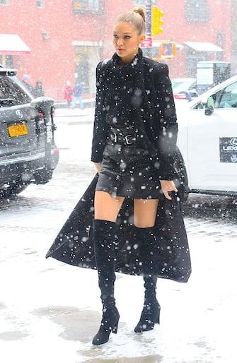 NEW YORK, NY - FEBRUARY 15:  Model Gigi Hadid  is seen walking in Snow in Soho on February 15, 2016 in New York City.  (Photo by Raymond Hall/GC Images)