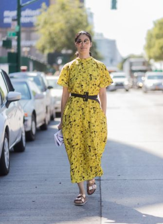 NEW YORK, NY - SEPTEMBER 13: Caroline Issa wearing yellow dress seen in the streets of Manhattan outside Delpozo during New York Fashion Week on September 13, 2017 in New York City. (Photo by Christian Vierig/Getty Images)