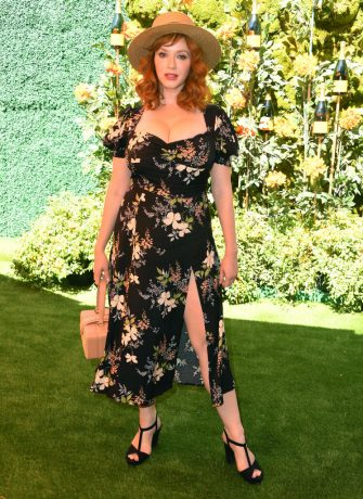 PACIFIC PALISADES, CALIFORNIA - OCTOBER 05: Christina Hendricks arrives at the 10th Annual Veuve Clicquot Polo Classic Los Angeles at Will Rogers State Historic Park on October 05, 2019 in Pacific Palisades, California. (Photo by Steve Granitz/WireImage)