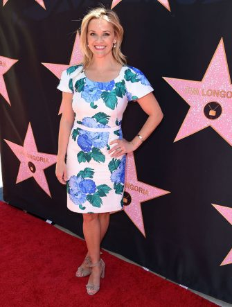 BEVERLY HILLS, CA - APRIL 16: Reese Witherspoon arrives at the Eva Longoria's Hollywood Star Ceremony Post-Luncheon on April 16, 2018 in Beverly Hills, California.  (Photo by Steve Granitz/WireImage)
