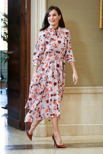 MADRID, SPAIN - FEBRUARY 21: Queen Letizia of Spain attends several audiences at Zarzuela Palace on February 21, 2020 in Madrid, Spain. (Photo by Paolo Blocco/WireImage)