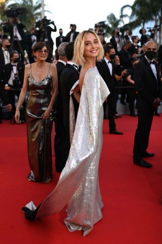 """Italian actress Denise Tantucci arrives for the screening of the film """"Tre Piani"""" (Three Floors) at the 74th edition of the Cannes Film Festival in Cannes, southern France, on July 11, 2021. (Photo by CHRISTOPHE SIMON / AFP) (Photo by CHRISTOPHE SIMON/AFP via Getty Images)"""