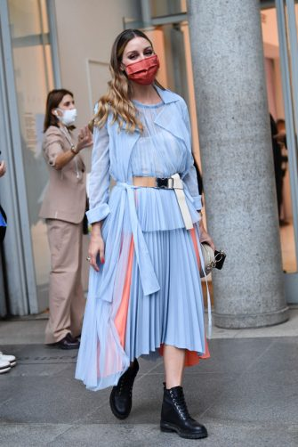 MILAN, ITALY - SEPTEMBER 25: Olivia Palermo is seen arriving at the Sportmax fashion show during the Milan Women's Fashion Week on September 25, 2020 in Milan, Italy. (Photo by Jacopo Raule/Getty Images)