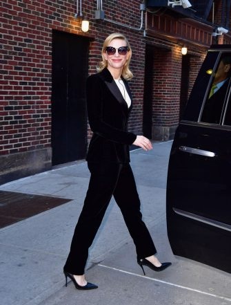 """NEW YORK, NY - MARCH 02:  Cate Blanchett leaves """"The Late Show With Stephen Colbert"""" at Ed Sullivan Theater on March 2, 2017 in New York City.  (Photo by James Devaney/GC Images)"""