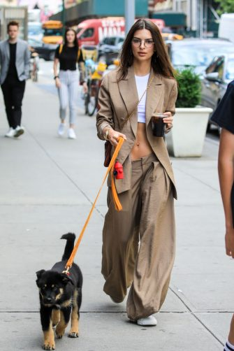 NEW YORK, NEW YORK - JUNE 03: Emily Ratajkowski is seen walking her pet Colombo on June 03, 2019 in New York City. (Photo by Say Cheese!/GC Images)