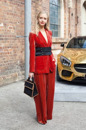 SYDNEY, AUSTRALIA - MAY 15:  Creative Director of Bear Journal Saasha Burns is wearing a Bianca Spender suit, Jaager shoes and Seven Eleven shoes during Mercedes-Benz Fashion Week Resort 18 Collections at Carriageworks on May 15, 2017 in Sydney, Australia.  (Photo by Merilyn Smith/WireImage)