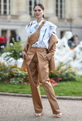 PARIS, FRANCE - SEPTEMBER 27: Coco Rocha is seen outside the Yohji Yamamoto show during Paris Fashion Week SS20 on September 27, 2019 in Paris, France. (Photo by Daniel Zuchnik/Getty Images)