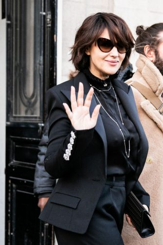 PARIS, FRANCE - JANUARY 21: Monica Bellucci attends the Alexandre Vauthier Haute Couture Spring/Summer 2020 show as part of Paris Fashion Week on January 21, 2020 in Paris, France. (Photo by Claudio Lavenia/GC Images )