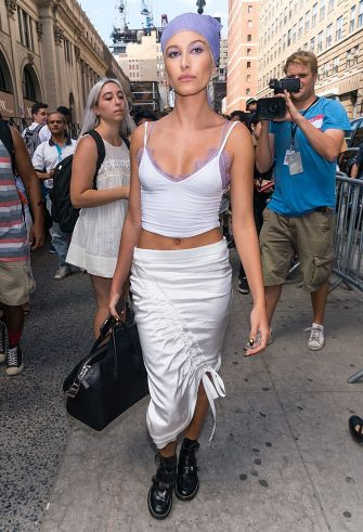 NEW YORK, NY - SEPTEMBER 12:  Model Hailey Baldwin is seen leaving Jeremy Scott fashion show during New York Fashion Week: The Shows at The Arc, Skylight at Moynihan Station on September 12, 2016 in New York City.  (Photo by Gilbert Carrasquillo/GC Images)