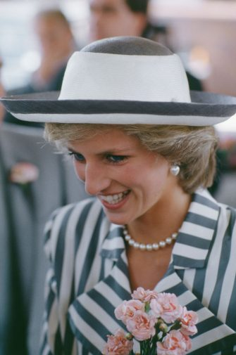Diana, Princess of Wales  (1961 - 1997) wearing a striped jacket during a visit to Lincoln, UK, July 1985.  (Photo by Lucy Levenson/Princess Diana Archive/Getty Images)
