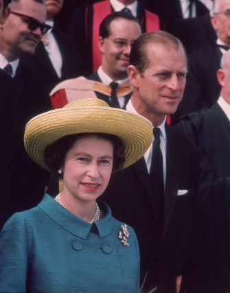 Queen Elizabeth II and Prince Philip on an official visit to Malta, 17th November 1967. The Queen wears a turquoise jacket with brooches, and a large straw hat. (Photo by Fox Photos/Hulton Archive/Getty Images)