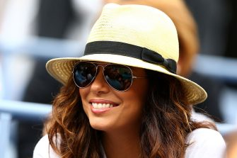 NEW YORK, NY - SEPTEMBER 03:  Actress Eva Longoria looks on as Serena Williams of the United States plays against Andrea Hlavackova of Czech Republic during their women's singles fourth round match on Day Eight of the 2012 US Open at USTA Billie Jean King National Tennis Center on September 3, 2012 in the Flushing neighborhood of the Queens borough of New York City.  (Photo by Al Bello/Getty Images)