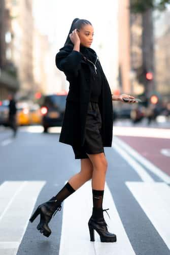 NEW YORK, NEW YORK - NOVEMBER 04: Ella Balinska is seen wearing Prada in Midtown on November 04, 2019 in New York City. (Photo by Gotham/GC Images)