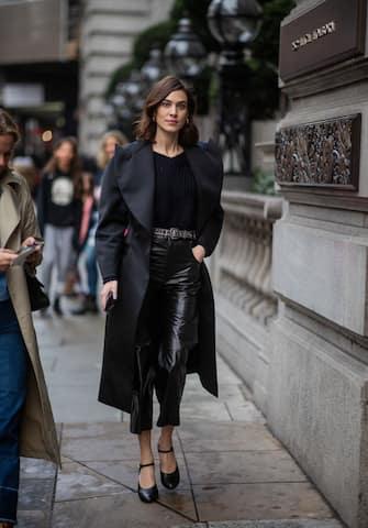 LONDON, ENGLAND - FEBRUARY 18: Alexa Chug wearing black coat, cropped vinyl pants, heels is seen outside Christopher Kane during London Fashion Week February 2019 on February 18, 2019 in London, England. (Photo by Christian Vierig/Getty Images)