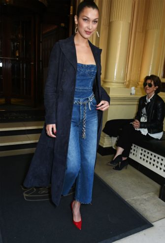 LONDON, ENGLAND - APRIL 20:  Dior spokesmodel Bella Hadid heads to the launch of her new Dior Pump 'N' Volume Mascara with her VIP friends at Selfridges on April 20, 2017 in London, England.  (Photo by David M Benett/Dave Benett/Getty Images for Dior)