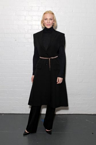 LONDON, ENGLAND - FEBRUARY 17:    Cate Blanchett attends the Burberry Autumn/Winter 2020 show during London Fashion Week at Kensington Olympia on February 17, 2020 in London, England. (Photo by David M. Benett/Dave Benett/Getty Images for Burberry)