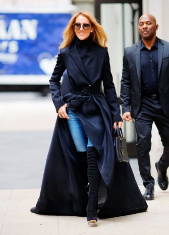 NEW YORK, NEW YORK - FEBRUARY 29: Celine Dion walks along the sidewalk on February 29, 2020 in New York City. (Photo by Gotham/GC Images)