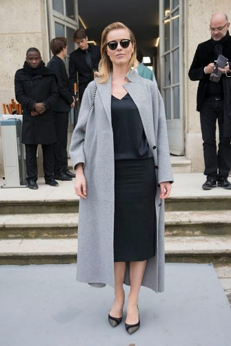 PARIS, FRANCE - FEBRUARY 28:  Super model Eva Herzigova on day 4 of Paris Collections: Women on February 28, 2014 in Paris, France.  (Photo by Kirstin Sinclair/Getty Images)
