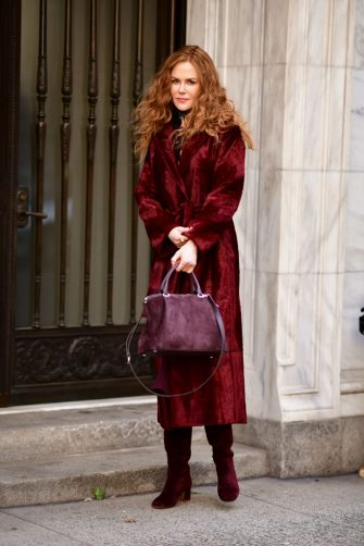 NEW YORK, NY - MARCH 14:  Nicole Kidman seen filming on location for 'The Undoing' on the Upper East Side on March 14, 2019 in New York City.  (Photo by James Devaney/GC Images)