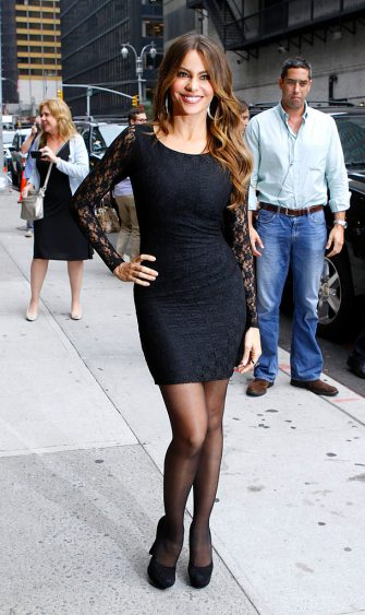 """NEW YORK, NY - SEPTEMBER 22: Sofia Vergara leaves the """"Late Show With David Letterman"""" at the Ed Sullivan Theater on September 22, 2011 in New York City. (Photo by Donna Ward/Getty Images)"""