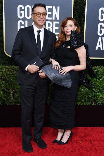 US actress Natasha Lyonne (R) and partner US actor Fred Armisen arrives for the 77th annual Golden Globe Awards on January 5, 2020, at The Beverly Hilton hotel in Beverly Hills, California. (Photo by VALERIE MACON / AFP) (Photo by VALERIE MACON/AFP via Getty Images)