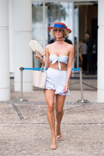 CANNES, FRANCE - JULY 16: Stella Manente is seen wearing her collection of hats during the 74th annual Cannes Film Festival at  on July 16, 2021 in Cannes, France. (Photo by Jacopo Raule/GC Images)