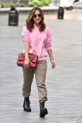 LONDON, ENGLAND - MAY 13: Myleene Klass seen outside the Global Radio Studios on May 13, 2020 in London, England. (Photo by HGL/GC Images)