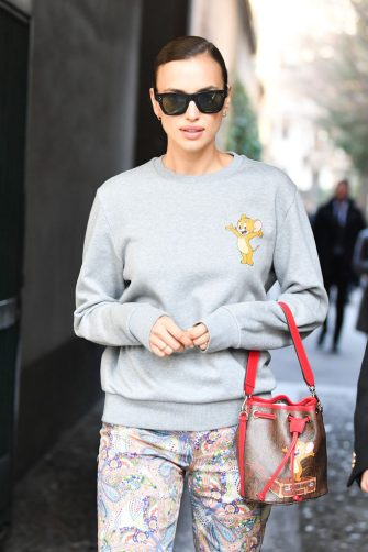 MILAN, ITALY - FEBRUARY 21: Irina Shayk is seen leaving the Etro fashion show on February 21, 2020 in Milan, Italy. (Photo by Jacopo Raule/WireImage)