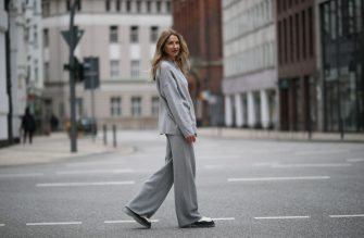 HAMBURG, GERMANY - MARCH 07: Sue Giers wearing grey SoSUE hoodie, matching wide-leg pants and beige Bottega Veneta boots on March 07, 2021 in Hamburg, Germany. (Photo by Jeremy Moeller/Getty Images)