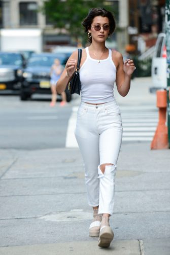 NEW YORK, NY - JULY 17:  Model Bella Hadid enters The Smile resaurant on July 17, 2017 in New York City.  (Photo by Ray Tamarra/GC Images)