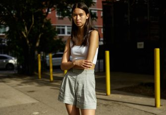 NEW YORK, NEW YORK - JUNE 12: Model Cassady Smith is seen wearing a white Zara tank and Abercrombie and Fitch shorts on June 12, 2021 in the Brooklyn borough of New York City.  (Photo by Daniel Zuchnik/Getty Images)