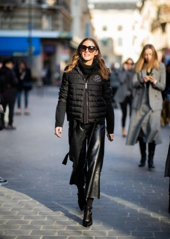 PARIS, FRANCE - FEBRUARY 27: Olivia Palermo is seen wearing puffer jacket outside Lanvin during Paris Fashion Week Womenswear Fall/Winter 2019/2020 on February 27, 2019 in Paris, France. (Photo by Christian Vierig/Getty Images)