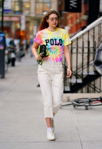 NEW YORK, NY - MARCH 30:  Gigi Hadid wears a tie-dyed shirt on March 30, 2019 in New York City.  (Photo by Gotham/GC Images)