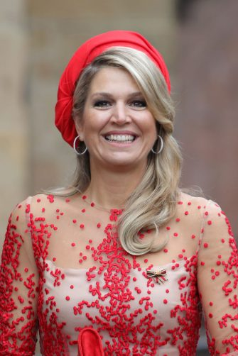 TRIER, GERMANY - OCTOBER 11:  Queen Maxima of The Netherlands waves on her departure at the High Cathedral of Saint Peter in Trier on October 11, 2018 in Trier, Germany. King Willem-Alexander of The Netherlands and Queen Maxima of The Netherlands are on a three-day-visit to Germany.  (Photo by Andreas Rentz/Getty Images)