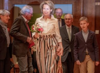 BRUSSELS, BELGIUM - MAY 01:  Queen Mathilde of Belgium and Prince Emmanuel of Belgium (r) attend the Queen Elisabeth competition Voice 2018 on May 1, 2018 in Brussels, Belgium.  (Photo by Olivier Matthys/Getty Images)