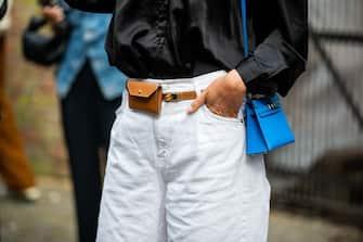 COPENHAGEN, DENMARK - AUGUST 10: A guest is seen wearing mirco Hermes bag outside Remain on August 10, 2021 in Copenhagen, Denmark. (Photo by Christian Vierig/Getty Images)