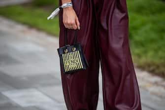 COPENHAGEN, DENMARK - AUGUST 11: Julia Comil seen wearing Fendi bag, bordeaux button up shirt and outside Designers Remix on August 11, 2021 in Copenhagen, Denmark. (Photo by Christian Vierig/Getty Images)