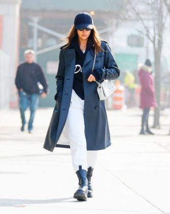 NEW YORK, NEW YORK - JANUARY 30: Irina Shayk wears a Burberry bag when out and about on January 30, 2020 in New York City. (Photo by Jackson Lee/GC Images)