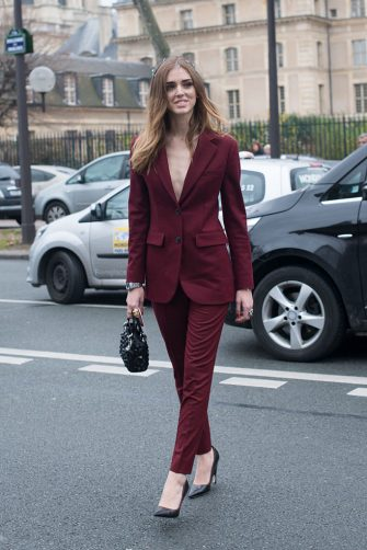 PARIS, FRANCE - JANUARY 26: Fashion Blogger of The Blond Salad Chiara Ferragni wears a suit, shoes, and handbag by Dior on day 2 of Paris Haute Couture Fashion Week Spring/Summer 2015, on January 26, 2015 in Paris, France. (Photo by Kirstin Sinclair/Getty Images)
