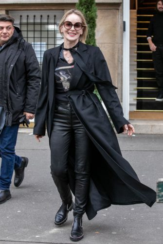 PARIS, FRANCE - JANUARY 28: Actress Sharon Stone is seen leaving the Stephane Rolland office building on January 28, 2020 in Paris, France. (Photo by Marc Piasecki/GC Images)
